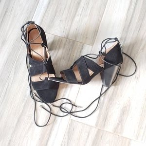 NEW asos | Black Suede Lace Up Heels sz 7